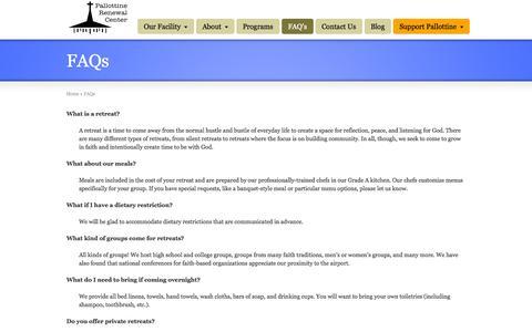 Screenshot of FAQ Page pallottinerenewal.org - FAQs | Pallottine Renewal Center - captured Oct. 1, 2014