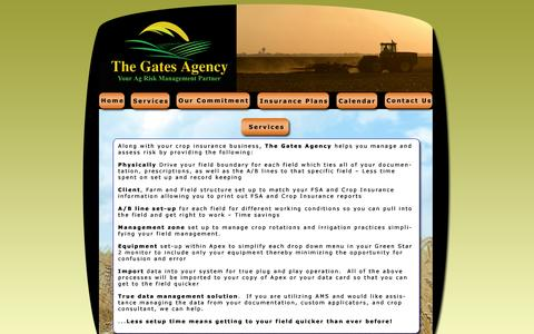 Screenshot of Services Page thegatesagency.com - The Gates Agency - Crop Insurance - captured Oct. 9, 2014