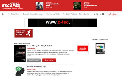 Screenshot of Products Page means-of-escape.com - Fire Safety Products | Means of Escape - Fire Safety Magazine - captured Oct. 2, 2018