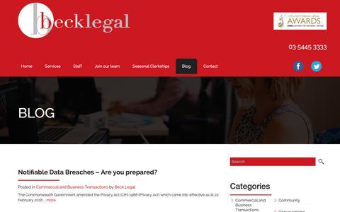 Screenshot of Blog becklegal.com.au - Blog - Beck LegalBeck Legal - captured Nov. 6, 2018