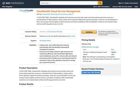 AWS Marketplace: CloudHealth Cloud Service Management
