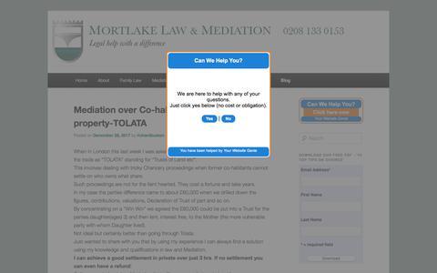 Screenshot of Blog mortlakelaw.co.uk - The Latest News From Mortlake Law - captured Sept. 20, 2018