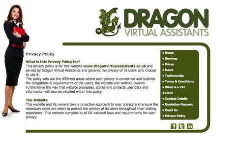 Screenshot of Privacy Page dragonvirtualassistants.co.uk - Dragon Virtual Assistants provide  secretarial services, Audio Typing Services, word processing, mailshots and mail merge services, proof reading,research, office management, office administration, invoicing, credit control,Telephone answering, call  - captured Sept. 30, 2014