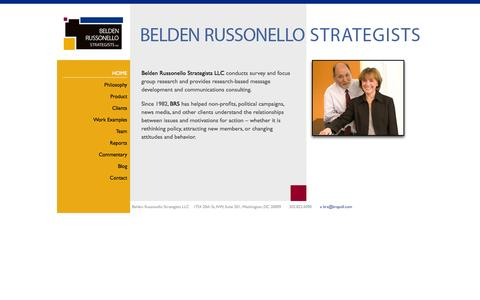 Screenshot of Home Page brspoll.com - Belden Russonello Strategists: Public Opinion Research and Strategic Communications - captured Oct. 5, 2014