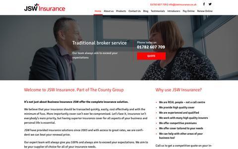 Screenshot of Home Page jswinsurance.co.uk - JSW Business Insurance Solutions - captured Nov. 17, 2016