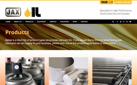 Screenshot of Products Page indlub.co.uk - Products - Industrial Lubricants - captured Oct. 11, 2018