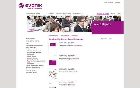 Evonik Industries - Specialty chemicals - Publications - CR Report - Evonik Industries - Specialty Chemicals