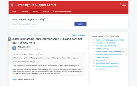 Screenshot of Support Page scrapinghub.com - Spider is Returning IndexError for some URLs and does not return all URL Items - Scrapinghub - captured April 15, 2019