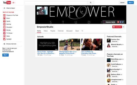Screenshot of YouTube Page youtube.com - EmpowerStudio  - YouTube - captured Oct. 22, 2014