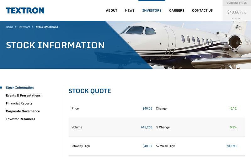 Textron Inc - Investors - Stock Information