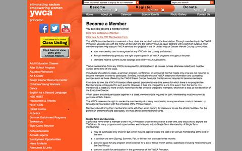 Screenshot of Signup Page ywcaprinceton.org - YWCA Princeton :: Become a Member - captured Jan. 5, 2017