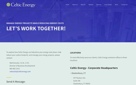 Screenshot of Contact Page celticenergy.com - Contact Us |  Celtic Energy - captured Jan. 26, 2016