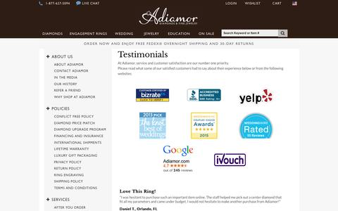 Screenshot of Testimonials Page adiamor.com - Adiamor Reviews - Customer Reviews & Testimonials - captured July 24, 2016