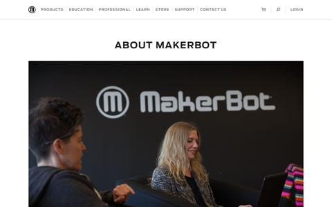 Screenshot of About Page makerbot.com - Learn More About Us | MakerBot - captured Sept. 25, 2017