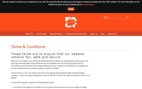 Screenshot of Terms Page fact.co.uk - Terms & Conditions - FACT (Foundation for Art and Creative Technology) - captured Aug. 9, 2018