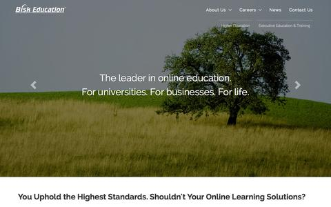 Screenshot of Home Page bisk.com - Bisk Education | The Leader in Online Education - captured Oct. 1, 2015