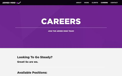 Screenshot of Jobs Page makebelieve.com - Careers - Armed Mind - captured May 11, 2017