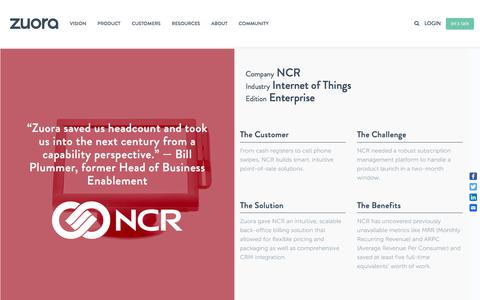 Screenshot of Case Studies Page zuora.com - NCR Case Study - Zuora - captured Sept. 11, 2017