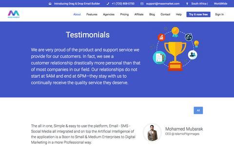 Screenshot of Testimonials Page maaxmarket.com - MaaxMarket | What our customers say | MaaxMarket - captured July 8, 2018