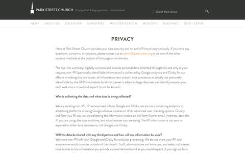 Screenshot of Privacy Page parkstreet.org - Privacy | Park Street Church - captured Sept. 26, 2018