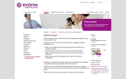 Payment method - Evonik Industries - Specialty Chemicals