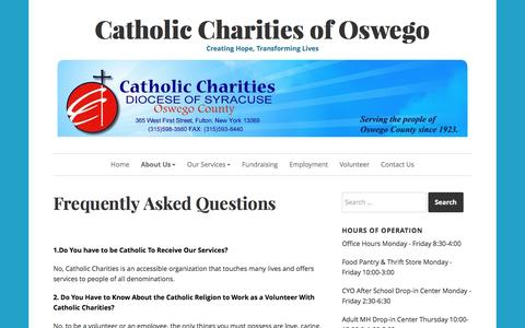 Screenshot of FAQ Page ccoswego.com - Frequently Asked Questions – Catholic Charities of Oswego - captured Jan. 10, 2017