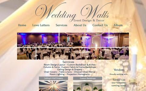 Screenshot of Services Page weddingwalls.com - Wedding Walls event designers and wedding rentals - captured Jan. 3, 2017