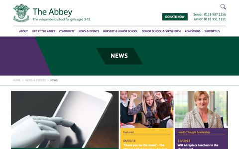 Screenshot of Press Page theabbey.co.uk - Newsroom | The Abbey School - captured Oct. 18, 2018