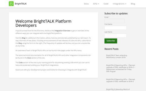 Screenshot of Developers Page brighttalk.com - Mackenzie says… - captured June 5, 2018