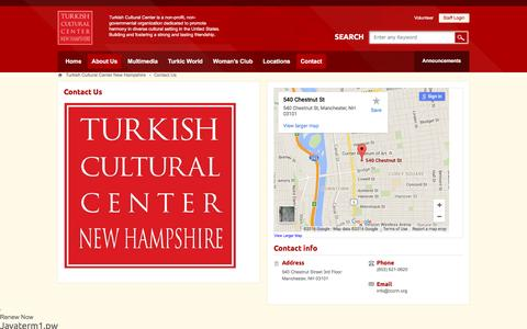 Screenshot of About Page Contact Page tccnh.org - Contact Us - captured May 22, 2016