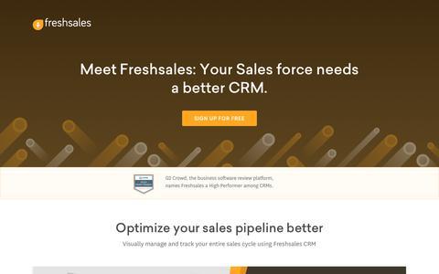 Screenshot of Landing Page freshworks.com - Sales Management Software | Sales CRM | Freshsales CRM - captured June 20, 2017