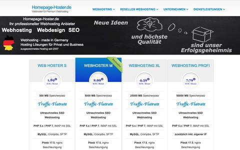 Screenshot of Home Page homepage-hoster.de - Homepage Hoster - Webhoster für Premium Webhosting - captured Oct. 26, 2018