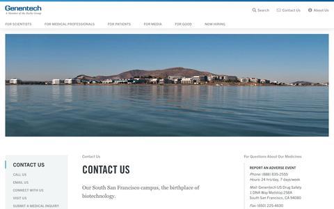 Screenshot of Contact Page gene.com - Genentech: Contact Us - captured Feb. 28, 2017