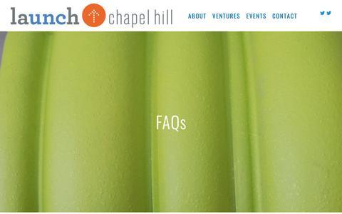 Screenshot of FAQ Page launchchapelhill.com - FAQs — Launch Chapel Hill - captured Nov. 4, 2018