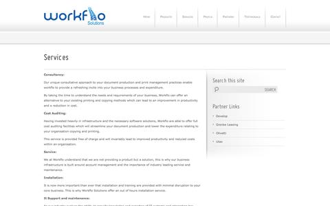 Screenshot of Services Page workflo-solutions.co.uk - Photocopier Services Company Edinburgh, Glasgow   Workflo Solutions - Workflo Solutions - captured Oct. 7, 2014