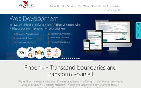Screenshot of Home Page phoenixinfosoft.com - Phoenix Infosoft - captured July 21, 2015