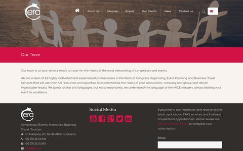 Screenshot of Team Page era.gr - Congress Organising, Event Planning, Business travel - captured Sept. 26, 2018