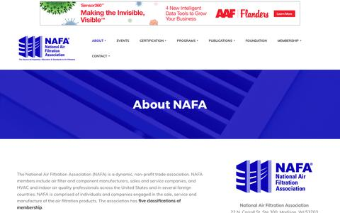 Screenshot of About Page nafahq.org - About NAFA - National Air Filtration Association - captured Oct. 19, 2017