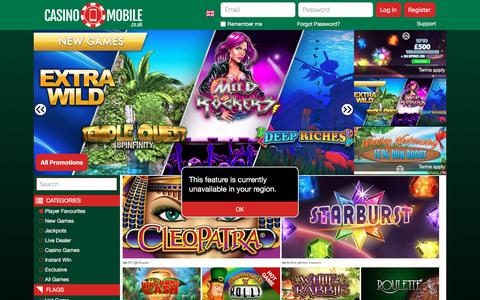 Screenshot of Signup Page casinomobile.co.uk - Mobile Casino   Slots Games   Casino Mobile Casino UK - captured Feb. 14, 2018