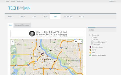 Screenshot of Maps & Directions Page tech.mn - TECHdotMN Map - TECHdotMN - captured Feb. 17, 2016