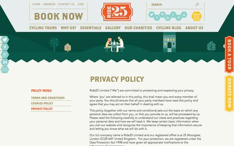 Screenshot of Privacy Page ride25.com - Privacy Policy - Ride25 - captured Jan. 23, 2016