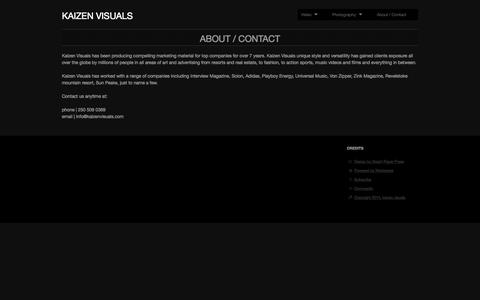 Screenshot of Contact Page kaizenvisuals.com - About / Contact | kaizen visuals - captured Sept. 30, 2014