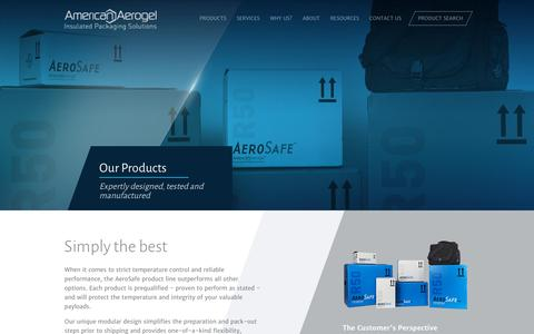 Screenshot of Products Page americanaerogel.com - Our Products | American Aerogel - captured Dec. 4, 2015