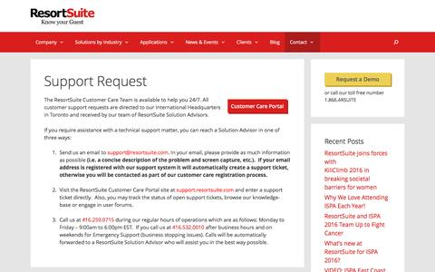 Support Request | ResortSuite