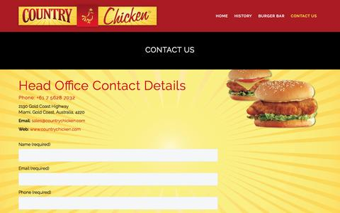 Screenshot of Contact Page countrychicken.com - Contact Us | Country Chicken - captured Nov. 11, 2016