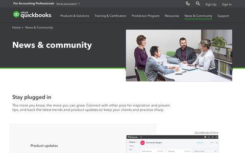 Screenshot of Press Page intuit.com - Quickbooks Community for Accountants, Quickbooks Accountant News | Intuit - captured Nov. 21, 2019