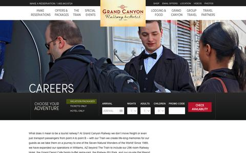 Screenshot of Jobs Page thetrain.com - Careers  |  Grand Canyon Railway & Hotel, Arizona- Grand Canyon Railway & Hotel, Arizona - captured Oct. 15, 2015