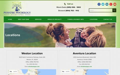 Screenshot of Locations Page southfloridatherapists.com - Locations - Pediatric Psychology Associates - captured Oct. 28, 2016