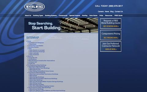 Screenshot of Site Map Page whirlwindsteel.com - Sitemap - Whirlwind Steel Buildings - captured Sept. 24, 2014