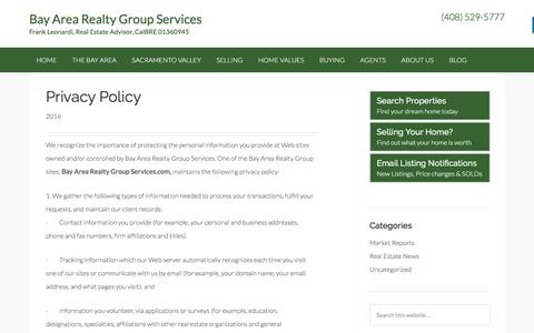 Screenshot of Privacy Page bayarearealtygroupservices.com - Privacy Policy • The Greater Bay Area Real Estate and Sacramento Valley - Bay Area Realty Group Services - captured Dec. 27, 2016